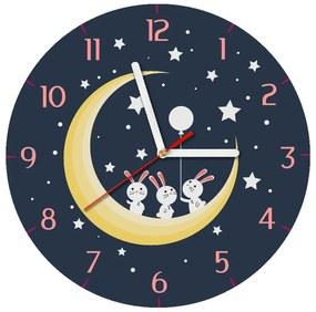 Gyerek óra Nyuszik a holdon 30x30cm