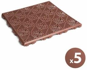 Kerti járólap (műanyag, terrakotta, 5 db / csomag)