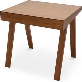 Barna asztal kőrisfa lábakkal, 80 x 70 cm - EMKO
