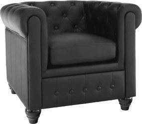 Fotel, fekete műbőr/fekete lábak, CHESTERFIELD