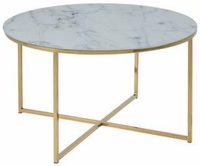 Alisma dohányzóasztal kerek, fehér márvány mintás printelt üveg, aranyozott láb