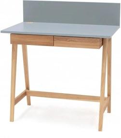 Luka szürke íróasztal kőrisfa lábakkal, hossz 85 cm - Ragaba