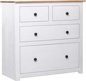Fehér panama stílusú fenyőfa tálalószekrény 80 x 40 x 83 cm