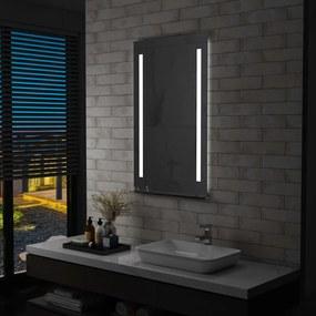vidaXL LED-es fürdőszobai falitükör polccal 60 x 100 cm