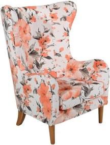 Miriam krémszínű virágmintás füles fotel - Max Winzer