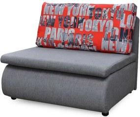 Széthúzható fotel, szürke / minta, KENY NEW