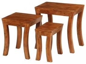 3 db barna egymásba rakható tömör akácfa asztal 50x35x50 cm