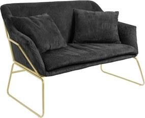 Glam fekete kordbársony kanapé - Leitmotiv