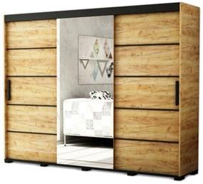 GORI V2 250 tolóajtós szekrény, 250,5x195x62, tölgy kraft arany/fekete