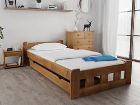 Naomi magasított ágy 90x200 cm, tölgyfa Ágyrács: Lamellás ágyráccsal, Matrac: Matrac nélkül