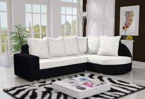 LOCYKA 3 sarok ülőgarnitúra, kornet fehér/fekete, jobbos