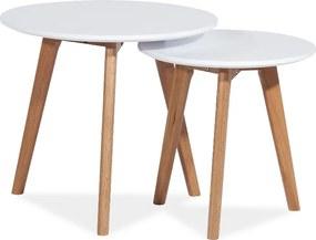 Tárolóasztal szett, fehér / tölgy, MILAN S2