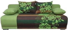 Széthúzható kanapé, zöld/barna/virágminta, REMI NEW