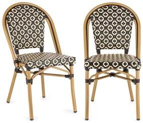Montbazin BL, bisztró szék, egymásra rakhatók, alumínium keret, polyrattan, fekete-krémszínű