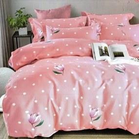 flanel ágynemű rózsaszín fehér pöttyök virággal 3-reszes