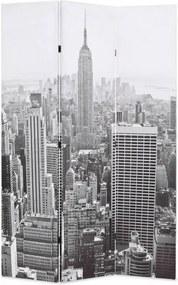 Fekete-fehér New York mintás paraván 120 x 170 cm