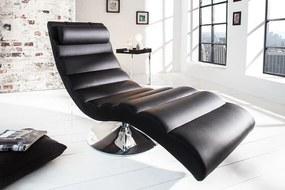 Műbőr hatású relax fotel, fekete - COOL