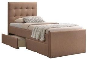 Modern ágy, világosbarna, 90x200, VISKA NEW
