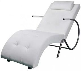 Fehér műbőr pihenőszék párnával