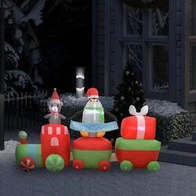 Felfújható led-es karácsonyi pingvin és egér vonaton ip44 350cm