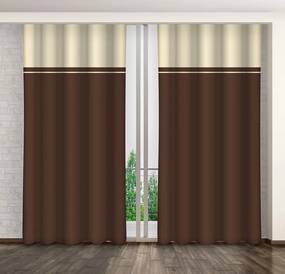 Kétárnyalatú barna-krémszínű függöny csipeszeken lógva Hossz: 250 cm