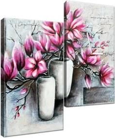 Órás falikép Rózsaszín magnóliák a vázában 60x60cm ZP3906A_2J