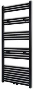 vidaXL Fekete fürdőszobai törölközőszárító radiátor központi fűtéssel egyenes 600 x 1424 mm
