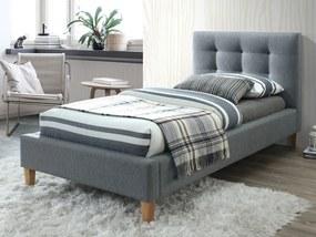 Kárpitozott ágy TEXAS 90 x 200 cm szürke/tölgy