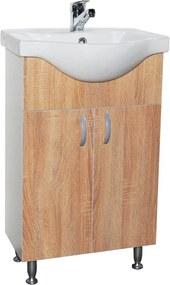 Gilda Fürdőszoba alsószekrény Fehér - sonoma kerámia mosdóval