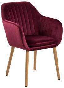 Emilia karfás design szék, bordó bársony