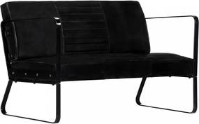 Fekete kétszemélyes valódi bőr kanapé