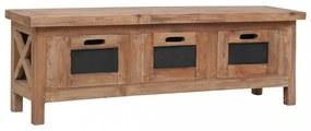 Tömör mahagóni tv-szekrény 3 fiókkal 120 x 30 x 40 cm