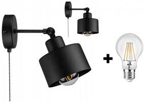 Glimex LAVOR állítható fekete fali lámpa kapcsolóval 1x E27 + ajándék LED izzó