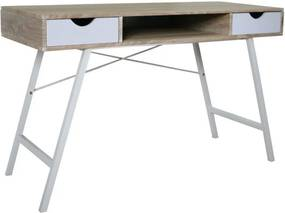Íróasztal, fehér / fém, B-140