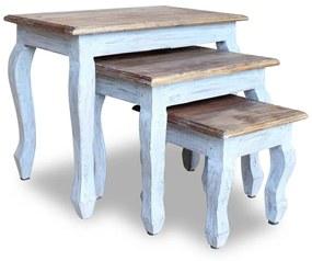 vidaXL 3-részes tömör újrahasznosított fa, egymásba tolható asztal