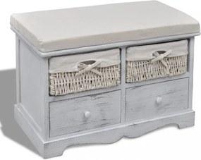 Fehér tároló pad 2 db fonott kosárral 2 db fiókkal és ülőpárnával