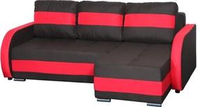 Cordoba CO03 Ággyá alakítható sarok ülőgarnitúra, erősített rugókkal Fekete - Piros