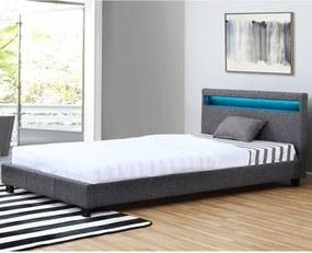 Kárpitozott ágy Verona 120 x 200 cm LED világítással sötétszürke színben