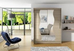 CARLA S tolóajtós ruhásszekrény tükörrel, 180x215x57, sonoma tölgy