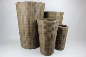 Barna kerek műanyag rattan virágcserepek 4-szett