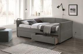 Kárpitozott ágy, szürkésfekete, LANTA 90X200