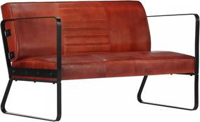 Barna kétszemélyes valódi bőr kanapé