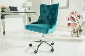 VICTORIAN türkiz karfás irodai szék