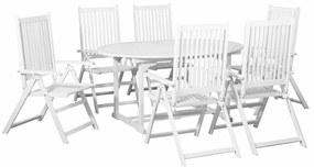 vidaXL 7 részes fehér kültéri fa étkezőszett kihúzható asztallal