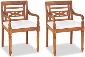 2 db tömör tíkfa Batavia szék párnával