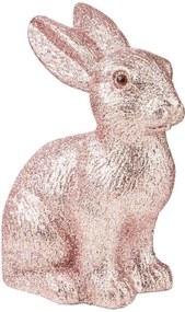 EASTER csillámló dekor nyúl, rózsaszín 15 cm