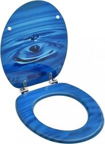 Kék vízcseppmintás mdf wc-ülőke fedéllel