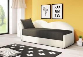 AGA kinyitható kanapé, 200x80x75 cm, fekete + fehér, (alova 04/alova PDP) balos