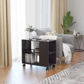 Magasfényű szürke forgácslap tálalóasztal 70 x 35 x 55 cm