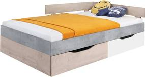 ME FABIO S14 gyerekágy ágyneműtartóval Szín: Fehér / beton / tölgy, Méret: 90x200